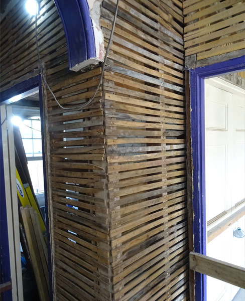 Laths Ready for Lime Plaster