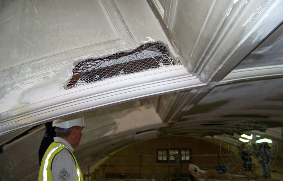 Plumstead Library Repairs in progress arched mouldings installed
